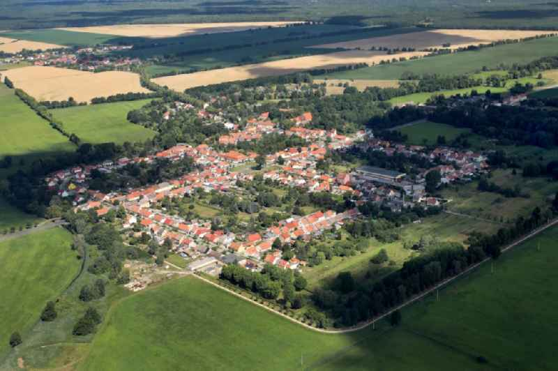 Village view on the edge of agricultural fields and land in Kloster Zinna in the state Brandenburg, Germany
