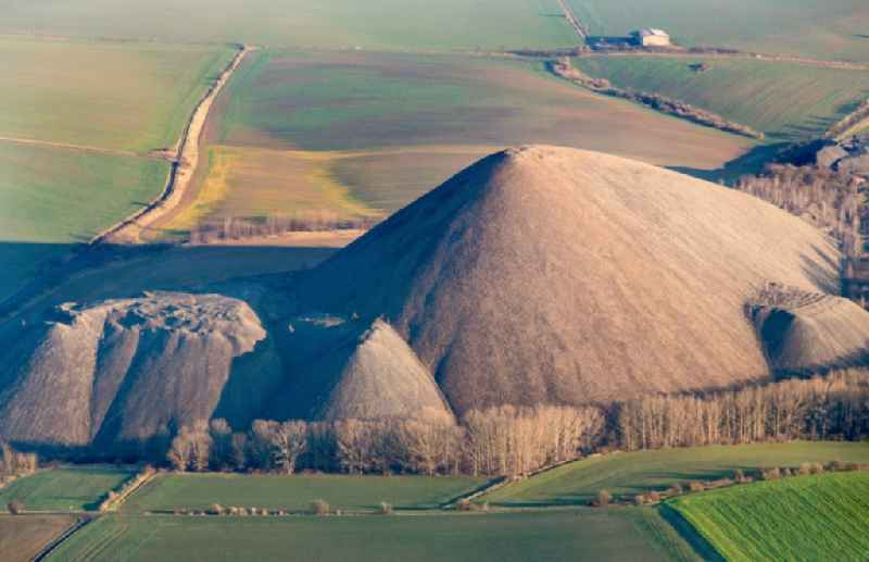 Layers of a mining waste dump in Mansfelder Land in Klostermansfeld in the state Saxony-Anhalt, Germany