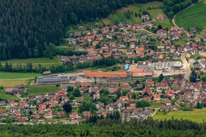 Location view of the streets and houses of residential areas in the valley landscape surrounded by mountains in Klosterreichenbach in the state Baden-Wuerttemberg, Germany
