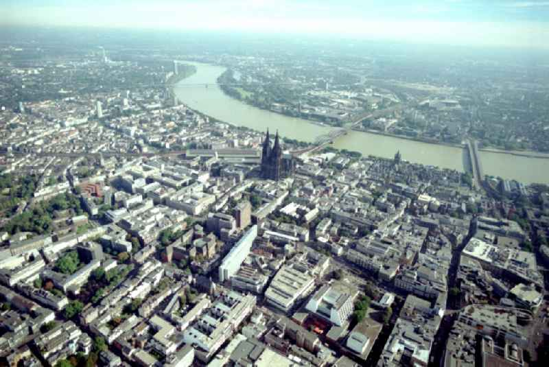 Old Town area and city center on the banks of the Rhine in Cologne in the state North Rhine-Westphalia, Germany.