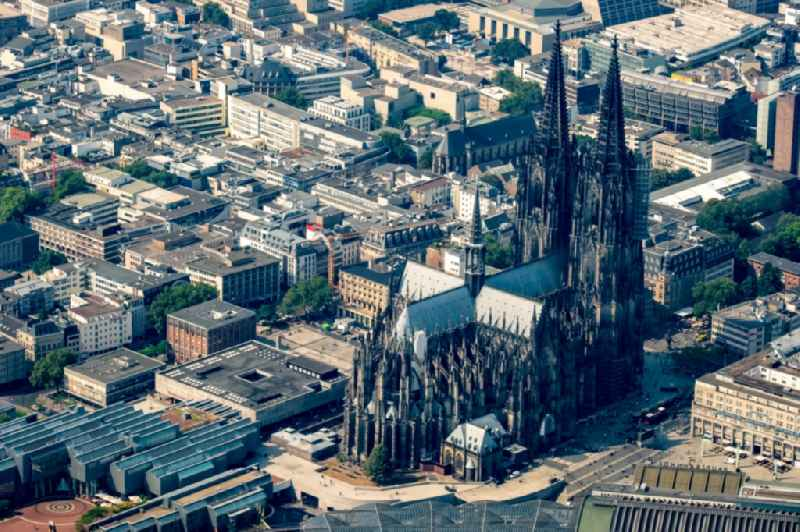 Church building of the cathedral on train station in the old town of Cologne in the state North Rhine-Westphalia, Germany