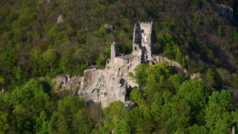 Ruins and remains of walls of the former castle complex of the Veste after the rock was renovated in Koenigswinter in the state of North Rhine-Westphalia, Germany