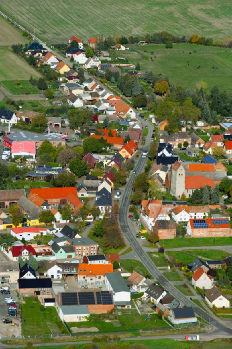 Town View of the streets and houses of the residential areas in Koerbelitz in the state Saxony-Anhalt, Germany.