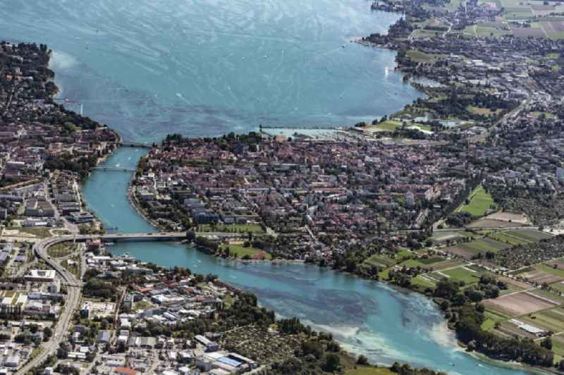 Village on the banks of the area Rhine - river course in Konstanz in the state Baden-Wuerttemberg, Germany
