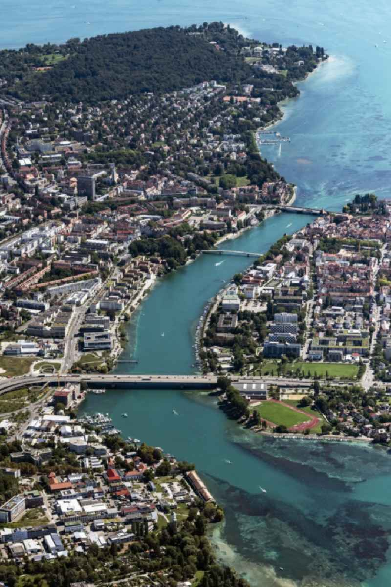 Town on the banks of the river of the Rhine river in Konstanz in the state Baden-Wuerttemberg, Germany