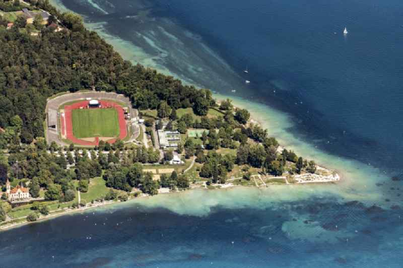Football stadium Bodenseestadion and in Vordergrand das Schloss Seehein in Konstanz in the state Baden-Wuerttemberg, Germany