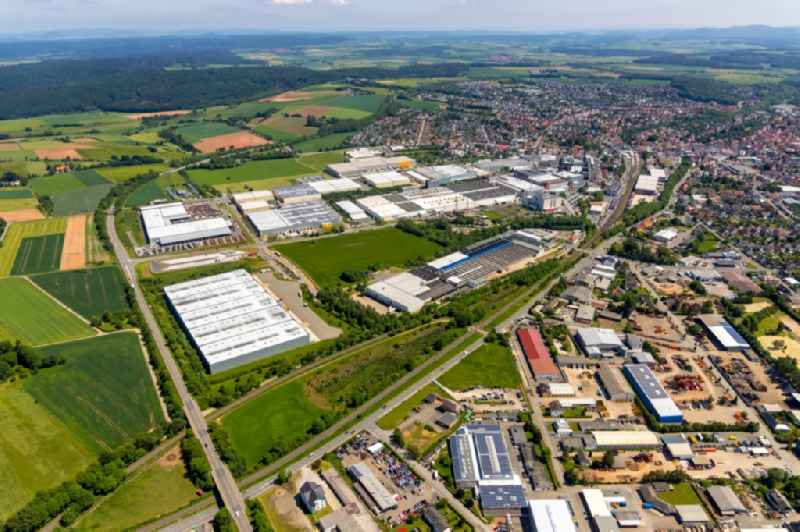 Industrial and commercial area entlang of Elfringhaeuser Weg - Nordring in Korbach in the state Hesse, Germany.