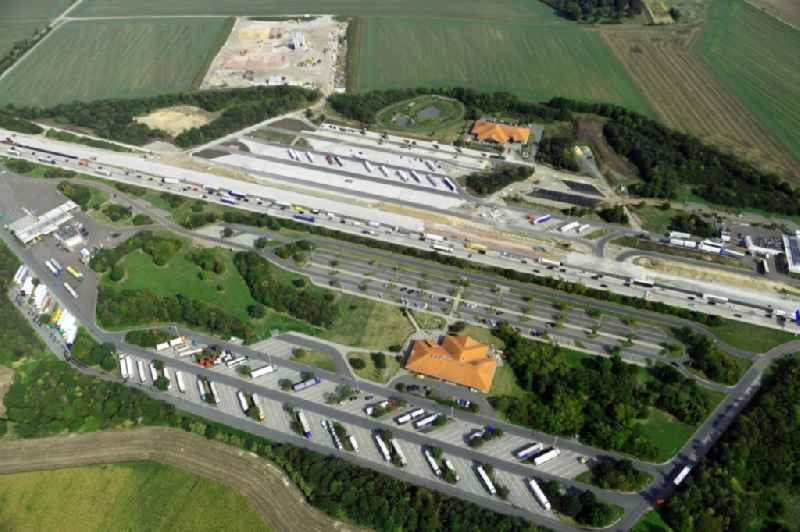 Routing and traffic lanes during the motorway service station and parking lot of the BAB A 9 - Osterfeld West in Krauschwitz in the state Saxony-Anhalt, Germany.