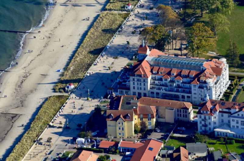 Townscape on the seacoast ' Strandhotel Meeresblick ' in Kuehlungsborn in the state Mecklenburg - Western Pomerania, Germany