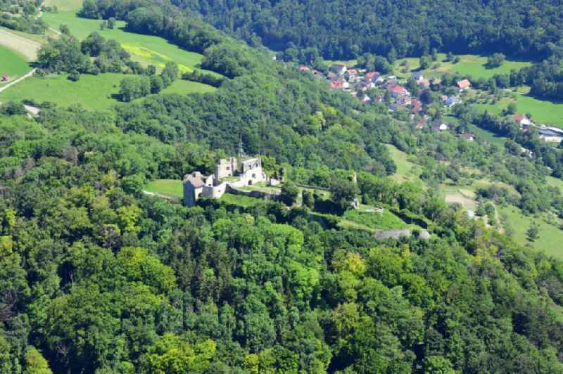 Ruins and vestiges of the former castle Kuessaburg and the village Kuessnach in Kuessaberg in the state Baden-Wuerttemberg, Germany
