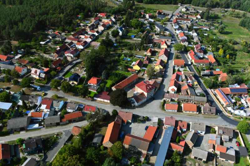 Town View of the streets and houses of the residential areas in Kummersdorf in the state Brandenburg, Germany