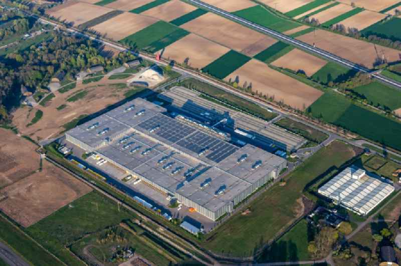 Building complex and grounds of the logistics center of Zalando Logistics Sued SE & Co. KG on Einsteinallee in Lahr/Schwarzwald in the state Baden-Wurttemberg, Germany