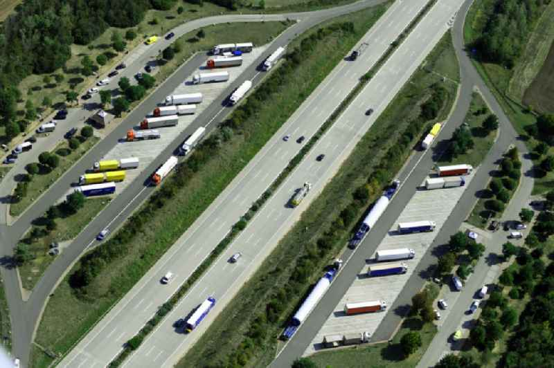 Routing and traffic lanes during the motorway service station and parking lot of the BAB A 9 - Kapellenberg in Landsberg in the state Saxony-Anhalt, Germany