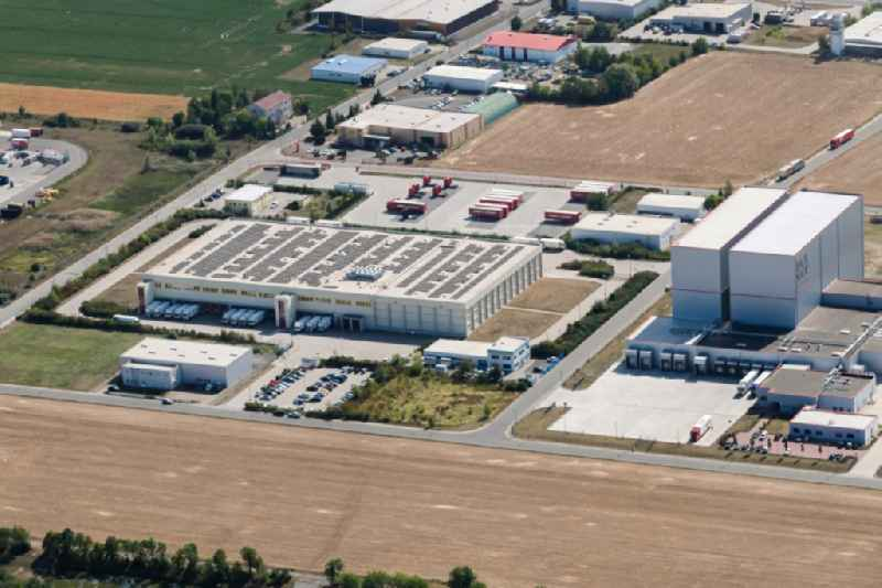 Building complex and distribution center on the site of 'Transgourmet Deutschland GmbH & Co. oHG' on Ernst-Abbe-Strasse in Landsberg in the state Saxony-Anhalt, Germany