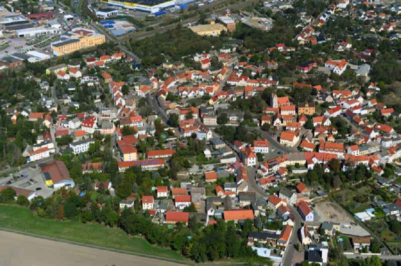 Town View of the streets and houses of the residential areas in Landsberg in the state Saxony-Anhalt, Germany