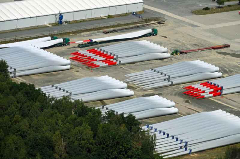 Building and production halls on the premises of ' Vestas Deutschland GmbH ' on John-Schehr-Strasse in Lauchhammer in the state Brandenburg, Germany