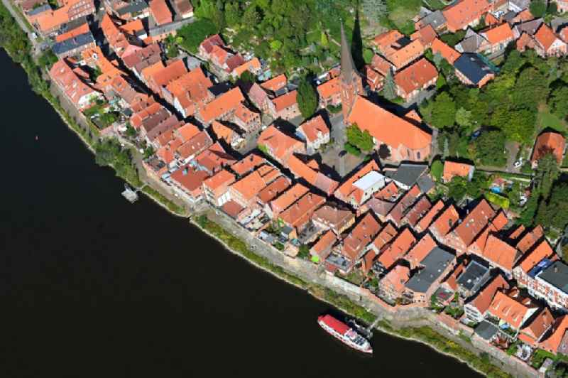 Town on the banks of the river of the River Elbe in Lauenburg/Elbe in the state Schleswig-Holstein, Germany