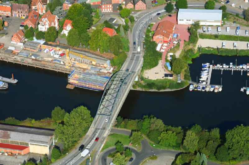 River - bridge construction along the Bundesstrasse B 209 on the river course of Elbe-Luebeck-Kanal in Lauenburg/Elbe in the state Schleswig-Holstein, Germany