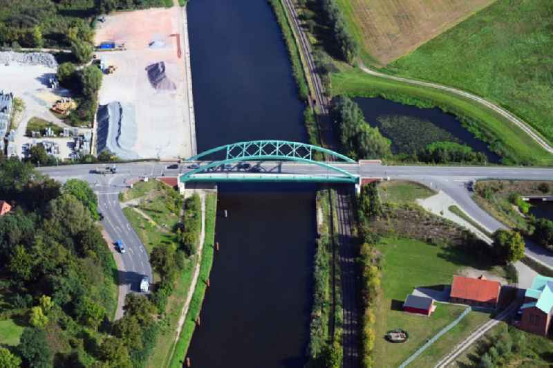 River - bridge construction over the Elbe-Luebeck-Kanal in Lauenburg/Elbe in the state Schleswig-Holstein, Germany