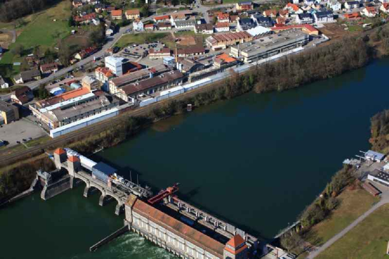 Company grounds and facilities of H.C. Starck STC and hydro power plant in the river Rhine in Laufenburg in the state Baden-Wuerttemberg, Germany