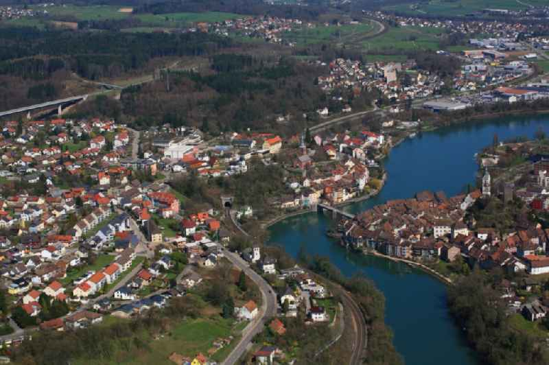 City area with outside districts at the river Rhine in Laufenburg in the state Baden-Wuerttemberg, Germany