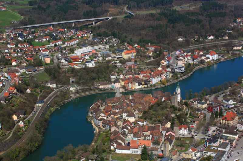 City area with outside districts and inner city area in Laufenburg in the canton Aargau, Switzerland and in Germany