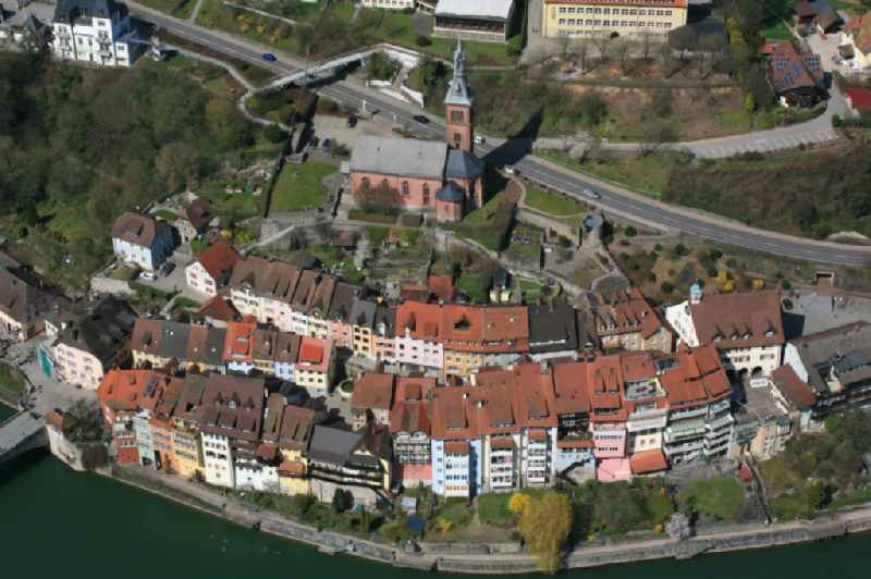 City area with old town at the river Rhine in Laufenburg in the state Baden-Wuerttemberg, Germany