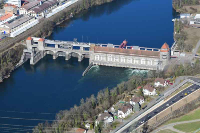 Dam of the hydroelectric power plant of Energiedienst Holding AG at the river Rhine in Laufenburg in the state Baden-Wurttemberg, Germany