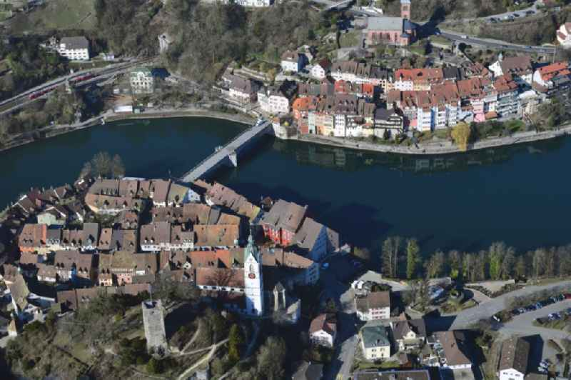 Old Town area and city center in Laufenburg in the canton Aargau, Switzerland. Looking over the river Rhine and the old Bridge to Laufenburg in Baden-Wuerttemberg, Germany