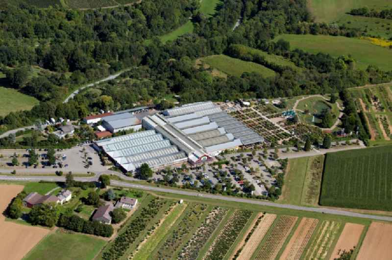 Building of Store plant market of 'Pflanzen Mauk Gartencenter GmbH' at Landturm in Lauffen am Neckar in the state Baden-Wurttemberg, Germany