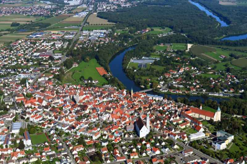 Town View of the streets and houses of the residential areas in Lauingen in the state Bavaria, Germany