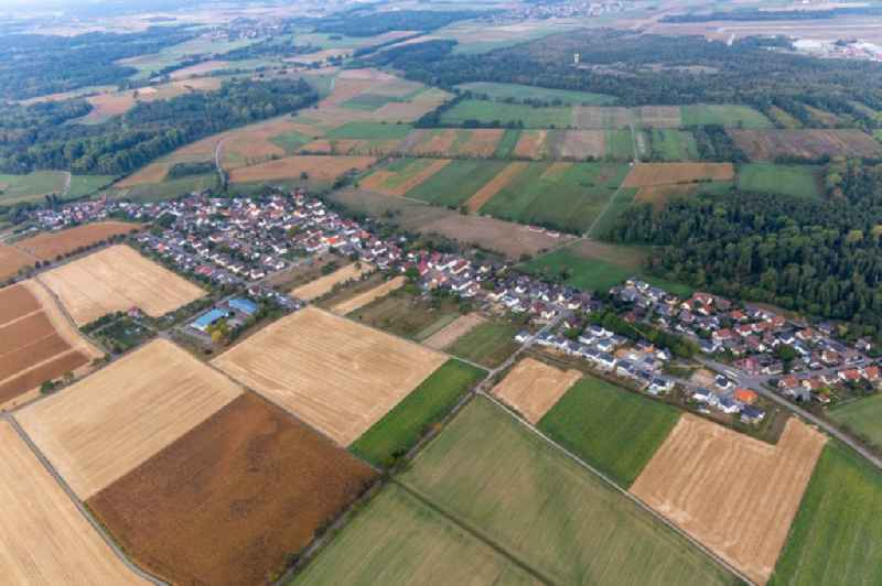 Agricultural land and field borders surround the settlement area of the village in Leiberstung in the state Baden-Wuerttemberg, Germany