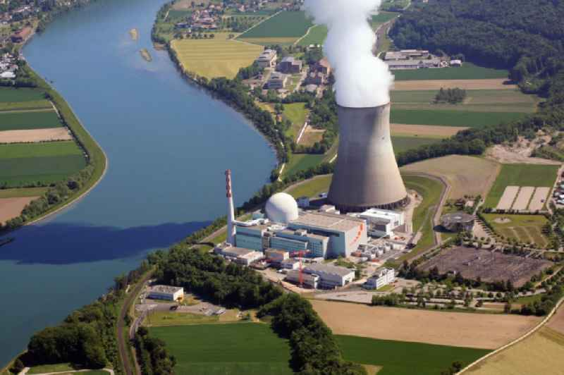 Site of the nuclear power plant - NPP Nuclear Power Plant Leibstadt AG on the banks of the Rhine in Switzerland