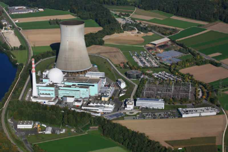Buildings, reactor and facilities of the NPP  nuclear power plant Leibstadt on the Rhine river in Leibstadt in the canton Aargau, Switzerland