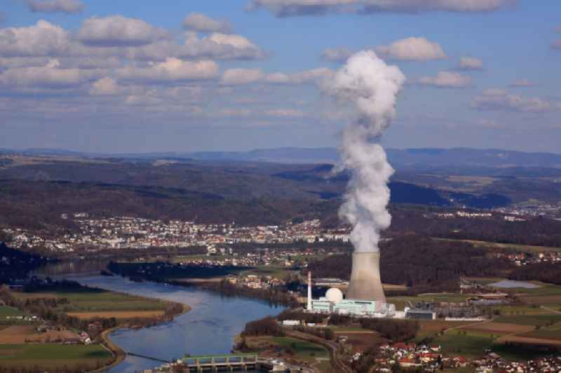 Buildings,  reactor and facilities of the NPP  nuclear power plant in Leibstadt in the canton Aargau, Switzerland. The river Rhine is border between Germany and Switzerland