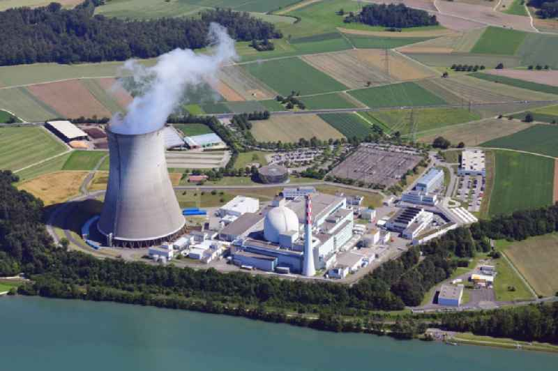 Buildings, reactor and facilities of the NPP nuclear power plant Leibstadt KKL on the Rhine river in Leibstadt in the canton Aargau, Switzerland
