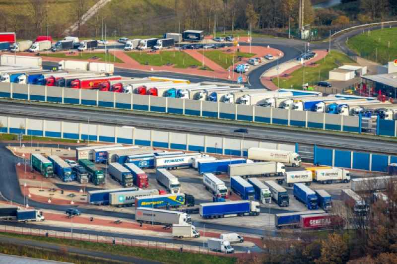 Lorries - parking spaces at the highway rest stop and parking of the BAB A 45 of Autobahnraststaette Sauerland Ost in Leifringhausen in the state North Rhine-Westphalia, Germany