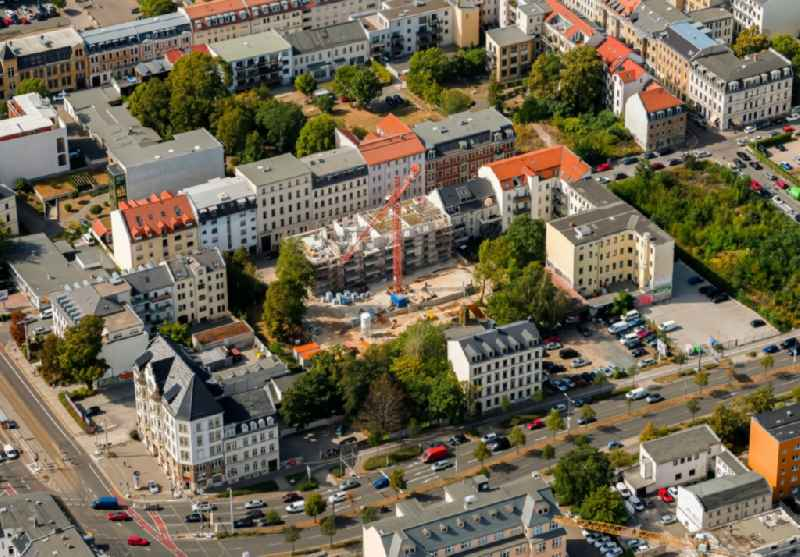 Construction site for the multi-family residential building on Lange Strasse in the district Zentrum-Ost in Leipzig in the state Saxony, Germany.