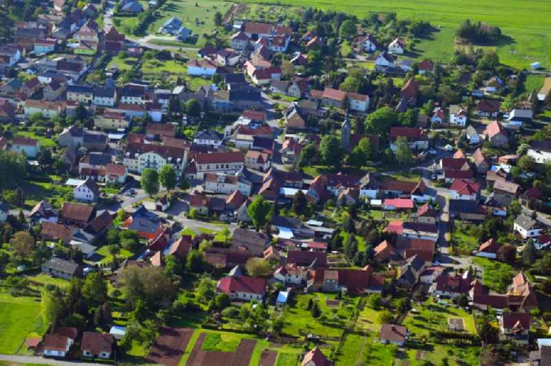 Town View of the streets and houses of the residential areas in Lengefeld in the state Saxony-Anhalt, Germany