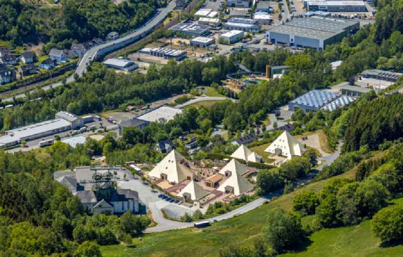 Building complex of the Institute of 'Wolfgang Schmidt e.K.' and of 'Rayonex Biomedical GmbH' with the Sauerland-Pyramids and the Galileo-Park in the district Meggen in Lennestadt in the state North Rhine-Westphalia, Germany. The plans for the Sauerland pyramids were designed by the architect Harry Lechler