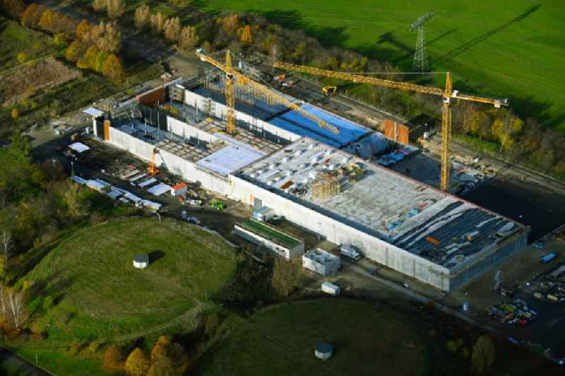 Construction site for the new building pumping station in Lindenberg in the state Brandenburg, Germany