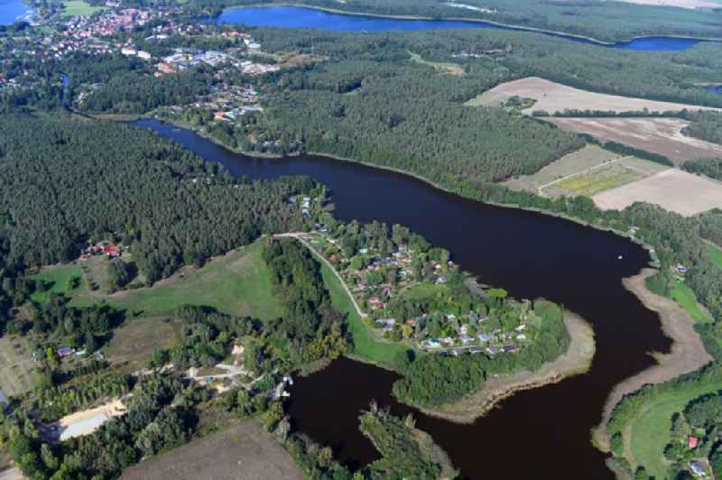 Village on the banks of the area lake of Vielitzsee in Lindow (Mark) in the state Brandenburg, Germany