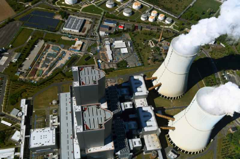 Power plants and exhaust towers of thermal power station of LEAG Lausitz Energie Kraftwerke AG in Lippendorf in the state Saxony, Germany