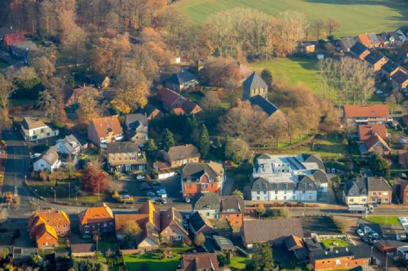 Town View of the streets and houses of the residential areas in Lippramsdorf in the state North Rhine-Westphalia, Germany.