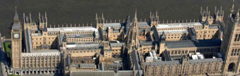 View of the Palace of Westminster / Westminster Palace in London. monumental, neo-Gothic style building in London where the meeting consists of the House of Commons and the House of Lords, British Parliament. This is under the UNESCO World Heritage landmark located in the City of Westminster on Parliament Square, close to government buildings at Whitehall. The most famous part of the palace is the Clock Tower (Clock Tower), with the bell Big Ben