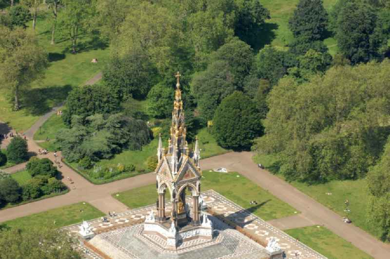 View of the Albert Memorial in Kensington Gardens in London. The Albert Memorial was commissioned by Queen Victoria of Great Britain and Ireland in memory of Albert of Saxe-Coburg and Gotha in order. It was built by Sir George Gilbert Scott in the years 1864-1875 in the Gothic Revival style