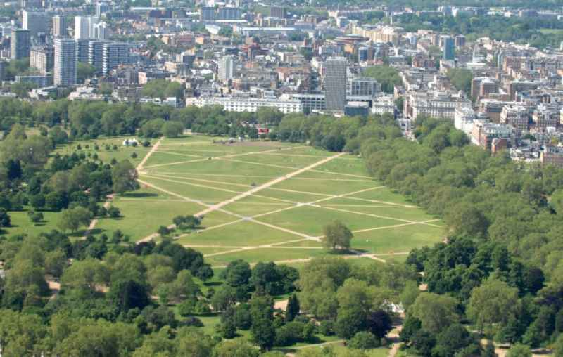View of part of London's Hyde Park area of Hyde Park is a public park in central London. The city park is known together with the other Royal Parks, the 'green lung' of the city and is considered one of the largest and most famous city parks