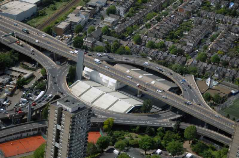 View of the highway Westway in West London. The road Westway is a 4 kilometer long section of the A40 route. It runs from Paddington to North Kensington and was built from 1964 to 1970 in order to relieve congestion at Stepherd's Bush caused by traffic from Western Avenue