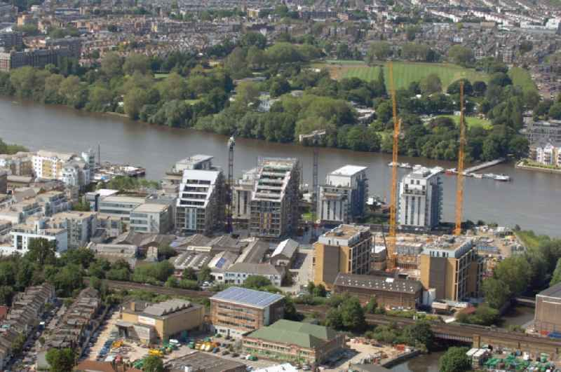 View at the  construction site of a residential house new building at the Wandsworth Riverside Quarter in the district Wandsworth of London in the county of Greater London in the UK. The quarter is located between the Wandsworth Park and Bell Lane Creek right at the Thames
