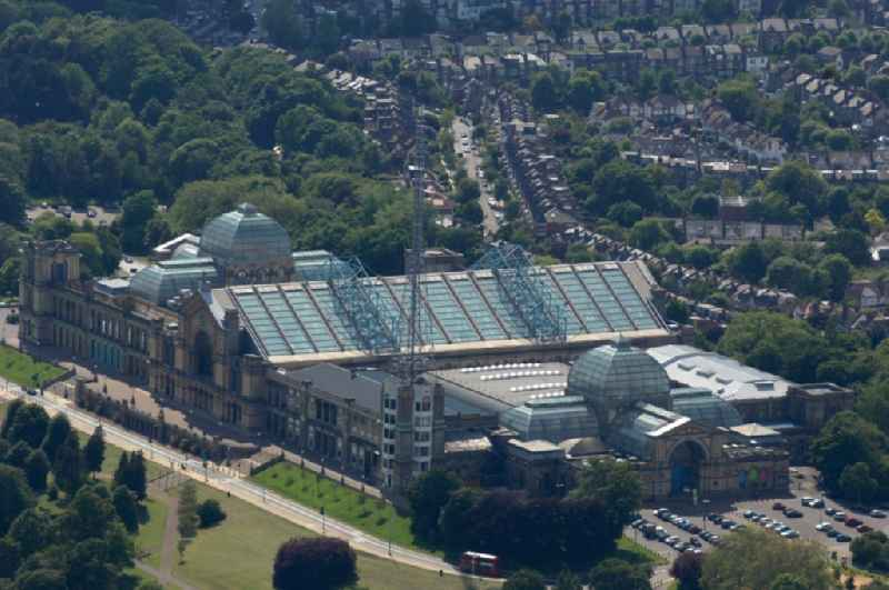 View at the Alexandra Palace in the district Haringey  in London in the county of Greater London in the UK. Alexandra Palace is since 130 years the events center for banquets, sports, music and all kinds of events in England. The building also contains a lot of leisure facilities. The BBC broadcasts its news programs from the palace' North Tower. Operator is the Alexandra Palace Trading Limited